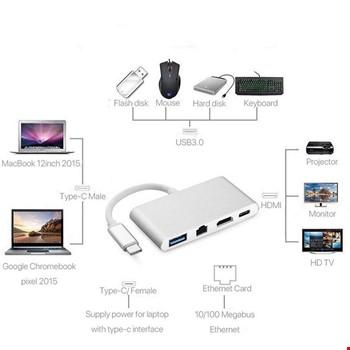 Type-C HDMI 4K RJ45 Gigabit Ethernet Type-C Usb 3.0 Şarj Girişli
