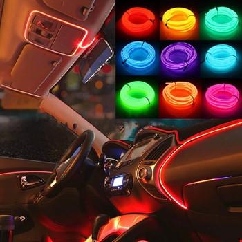 Araç Araba İçi Torpido Şerit Ledi Renkli İp Neon İp Led 2 Metre