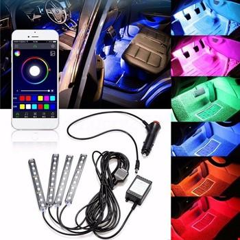 Araç İçi RGB 8 Renk Led Aydınlatma Uygulama Kontrollü 18 Led