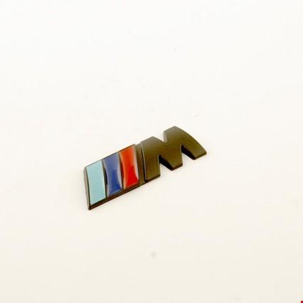 Bmw M Amblem Metal Logo Siyah Logosu Metal 3D 15MM X 42 MM