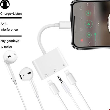 iPhone Lightning ve 3.5 mm Kulaklık ve Şarj Girişli Adaptör Kablo