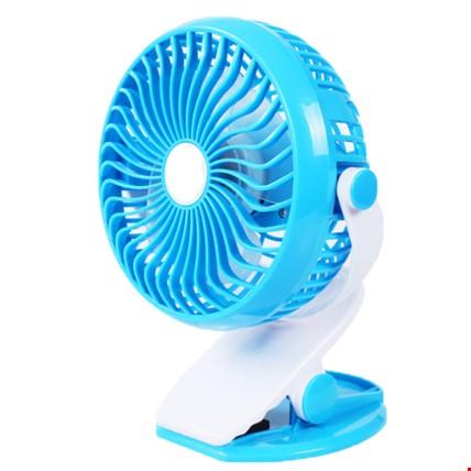 Şarjlı Mandallı Mini Vantilatör Ev Ofis Araç Soğutucu Fan Renk: Mavi