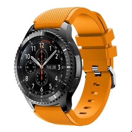 Samsung Gear Watch 46mm Silikon TME Kordon Kayış Renk: Turuncu Açık