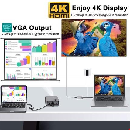 Type-C 4 in 1 4k HDMI VGA Usb 3.0 Type-C Şarj Girişli Adaptör
