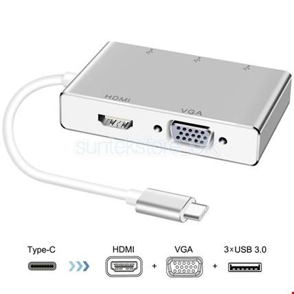 Type-C Usb C 3.1 Hdmi Vga 3 Usb Port 3.0 Hub Çoklayıcı Adaptör