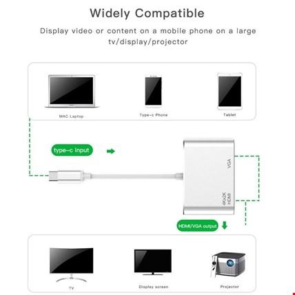 Type-C HDMI VGA 4K 2K HD Görüntü Aktarım Kablosu 2in1 HD Adaptör