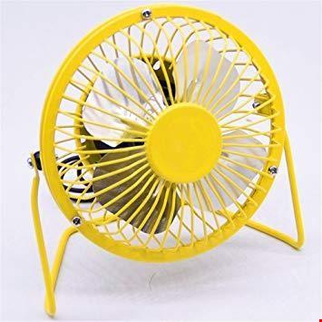 Usb Fan Vantilatör Metal Kasalı  Seesiz Usb 360 Derece Dönebilir Renk: Sarı