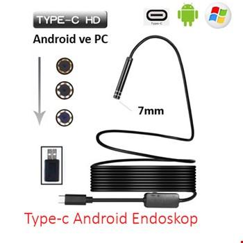 USB Type-C 3.1 Endoskop Yılan Android Kamera Sert Kablolu 15Metre