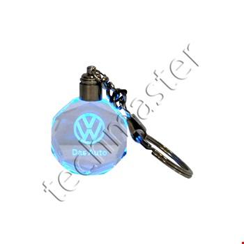 Volkswagen Logolu Led Işıklı 3D Kristal Led Araba Anahtarlık