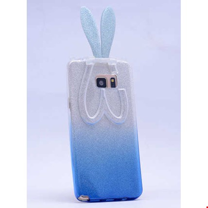 Galaxy S6 Edge Plus Kılıf Zore Simli Tavşan Silikon Renk: Mavi