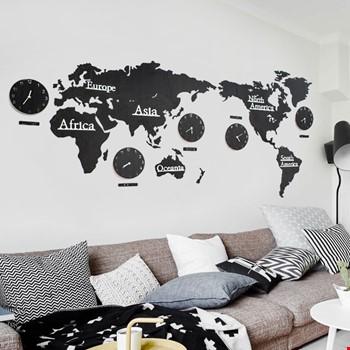 3 Boyutlu Dünya Haritası Modüler Duvar Saati 5 Şehir Saatli