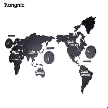 3 Boyutlu Dünya Haritası Modüler Duvar Saati 3 Şehir Saatli