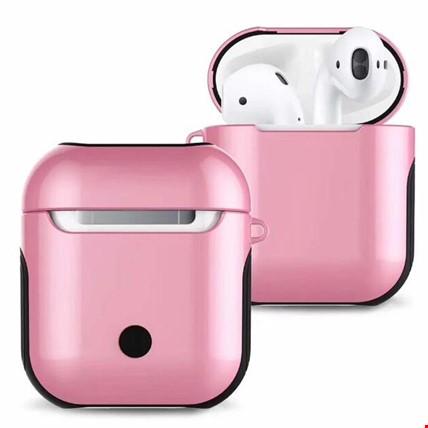 Apple Airpods Kulaklık Silikon Kılıf Askılı Tam Koruma Çift Renk Renk: Pembe