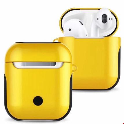 Apple Airpods Kulaklık Silikon Kılıf Askılı Tam Koruma Çift Renk Renk: Sarı