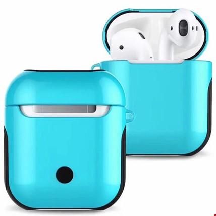 Apple Airpods Kulaklık Silikon Kılıf Askılı Tam Koruma Çift Renk Renk: Turkuaz