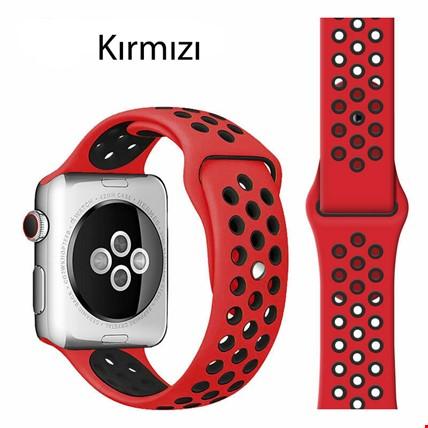 Apple Watch 1 2 3 4 5 38mm 40mm Spor Silikon TME Kordon Kayış Renk: Kırmızı