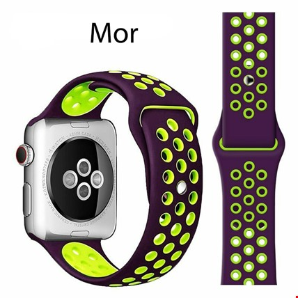 Apple Watch 1 2 3 4 5 38mm 40mm Spor Silikon TME Kordon Kayış Renk: Mor