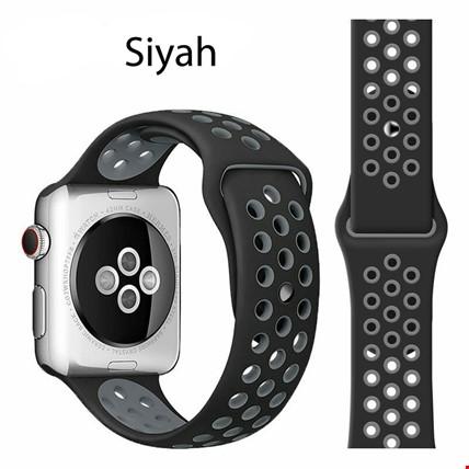 Apple Watch 1 2 3 4 5 38mm 40mm Spor Silikon TME Kordon Kayış Renk: Siyah
