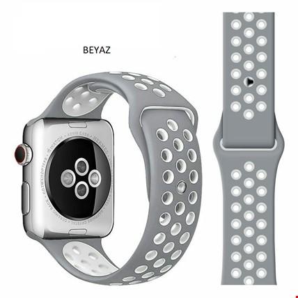 Apple Watch 1 2 3 4 5 38mm 40mm Spor Silikon TME Kordon Kayış Renk: Beyaz