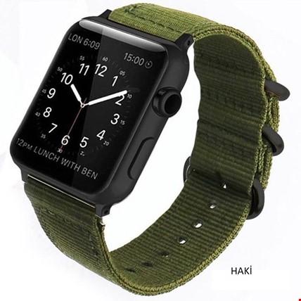 Apple Watch 1 2 3 4 5 Seri 38 40mm Spor Örgü Kanvas TME Kordon Renk: Haki
