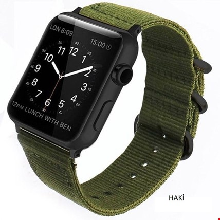 Apple Watch 1 2 3 4 5 Seri 42 44mm Spor Örgü Kanvas TME Kordon Renk: Haki