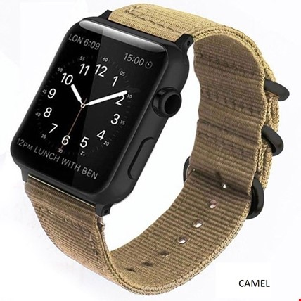 Apple Watch 1 2 3 4 5 Seri 42 44mm Spor Örgü Kanvas TME Kordon Renk: Camel