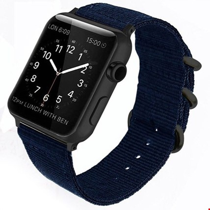 Apple Watch 1 2 3 4 5 Seri 42 44mm Spor Örgü Kanvas TME Kordon Renk: Lacivert