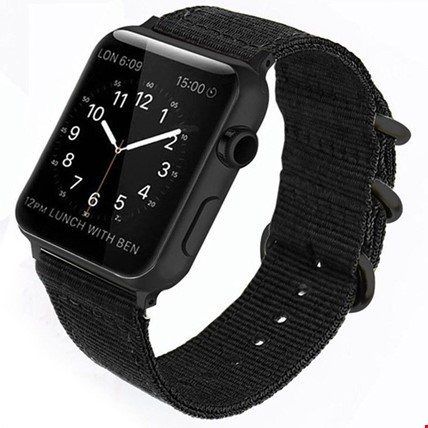 Apple Watch 1 2 3 4 5 Seri 42 44mm Spor Örgü Kanvas TME Kordon Renk: Siyah