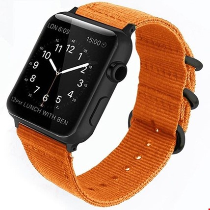 Apple Watch 1 2 3 4 5 Seri 42 44mm Spor Örgü Kanvas TME Kordon Renk: Turuncu