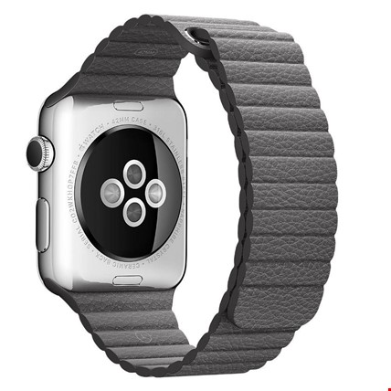 Apple Watch 2 3 4 5 38 ve 40mm 42 ve 44mm Leather Loop TME Kordon Renk: GriApple Watch Modeli: 42 44mm