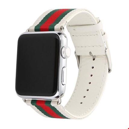 Apple Watch 2 3 4 42 ve 44mm Kordon Kayış Gucci Design Renk: Beyaz