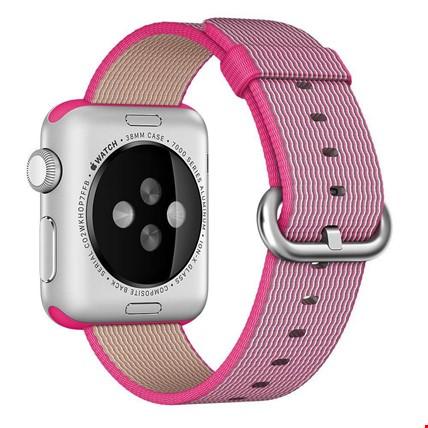 Apple Watch 2 3 4 42 ve 44mm TME Kordon Woven Nylon Renk: Pembe