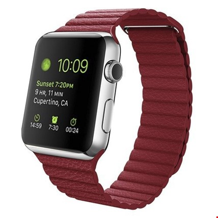 Apple Watch 2 3 4 5 38 ve 40mm 42 ve 44mm Leather Loop TME Kordon Renk: KırmızıApple Watch Modeli: 42 44mm