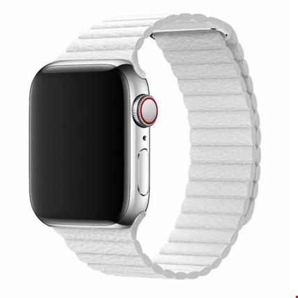 Apple Watch 2 3 4 5 6 42mm ve 44mm Leather Loop TME Kordon Renk: Beyaz