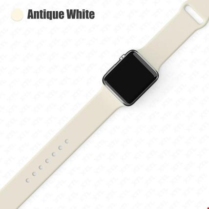 Apple Watch 2 3 4 5 6 Seri 38mm ve 40mm Silikon TME Kordon Kayış Renk: Antique White