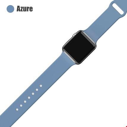 Apple Watch 2 3 4 5 6 Seri 38mm ve 40mm Silikon TME Kordon Kayış Renk: Azure