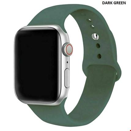 Apple Watch 2 3 4 5 6 Seri 38mm ve 40mm Silikon TME Kordon Kayış Renk: Dark Green
