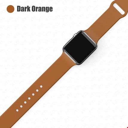 Apple Watch 2 3 4 5 6 Seri 38mm ve 40mm Silikon TME Kordon Kayış Renk: Dark Orange