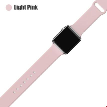 Apple Watch 2 3 4 5 6 Seri 38mm ve 40mm Silikon TME Kordon Kayış Renk: Light Pink