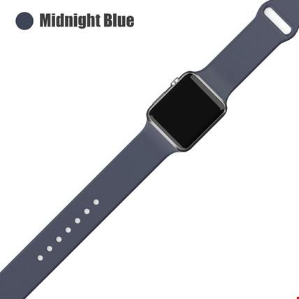 Apple Watch 2 3 4 5 6 Seri 38mm ve 40mm Silikon TME Kordon Kayış Renk: Midnight Blue