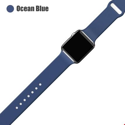 Apple Watch 2 3 4 5 6 Seri 38mm ve 40mm Silikon TME Kordon Kayış Renk: Ocean Blue