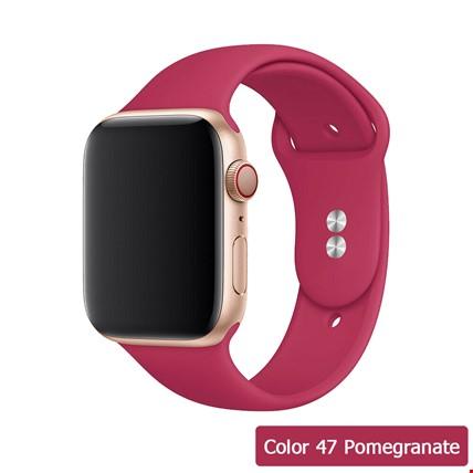 Apple Watch 2 3 4 5 6 Seri 38mm ve 40mm Silikon TME Kordon Kayış Renk: Pomegranate