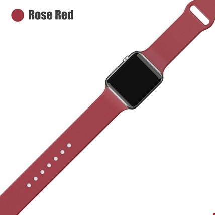 Apple Watch 2 3 4 5 6 Seri 38mm ve 40mm Silikon TME Kordon Kayış Renk: Rose Red