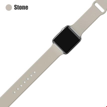 Apple Watch 2 3 4 5 6 Seri 38mm ve 40mm Silikon TME Kordon Kayış Renk: Stone