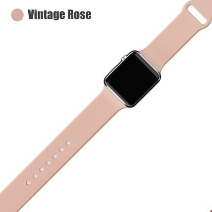 Apple Watch 2 3 4 5 6 Seri 38mm ve 40mm Silikon TME Kordon Kayış Renk: Vintage Rose