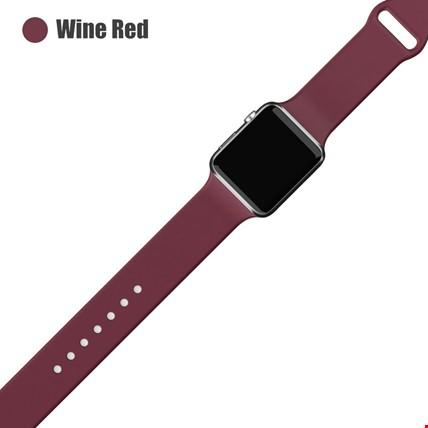 Apple Watch 2 3 4 5 6 Seri 38mm ve 40mm Silikon TME Kordon Kayış Renk: Wine Red