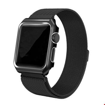 Apple Watch 2 3 42 mm Mıknatıslı Milanese+Metal Çerçeveli Kordon