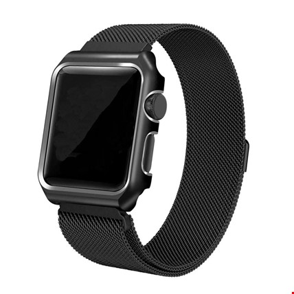 Apple Watch 2 3 42 mm Mıknatıslı Milanese+Metal Çerçeveli Kordon