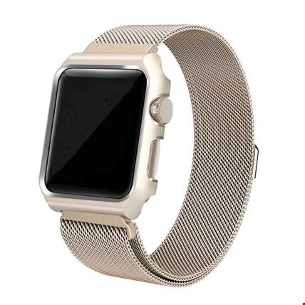 Apple Watch 2 3 42 mm Mıknatıslı Milanese+Metal Çerçeveli Kordon Renk: Altın  Dore