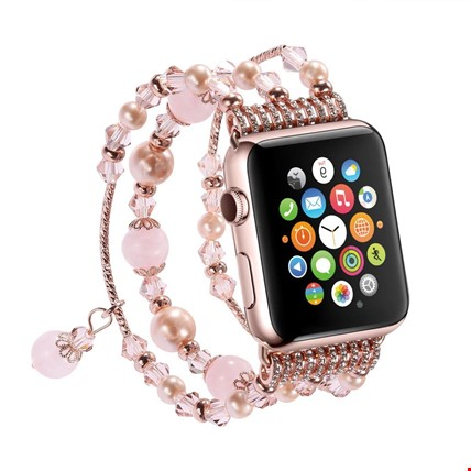 Apple Watch 2 3 42 mm Pembe Renk Boncuklu Taşlı Kordon